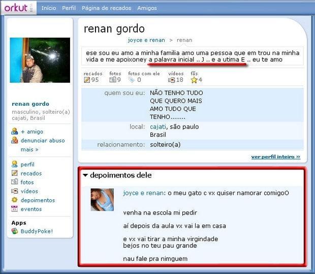 depoimentos de orkut